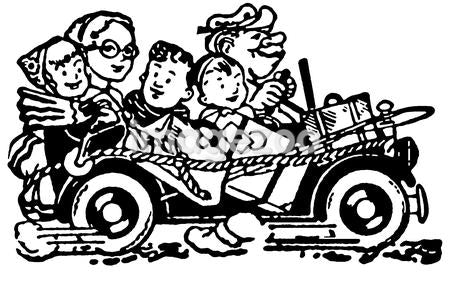 A black and white version of a cartoon style image of a car packed full of family and bags set for vacation