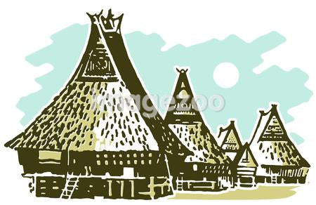 A vintage illustration of traditional huts