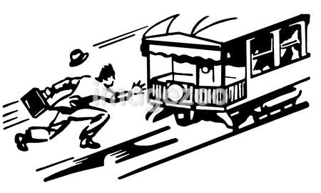A black and white version of a vintage illustration of a man running for a tram