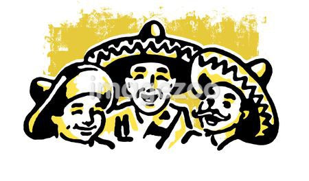 A graphic illustration of a traditional Mexican family