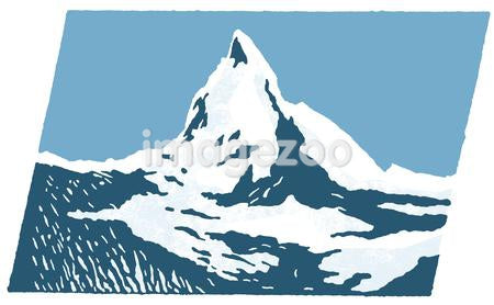 A graphical print of snow capped mountains