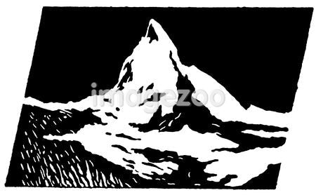 A black and white version of a graphical print of snow capped mountains