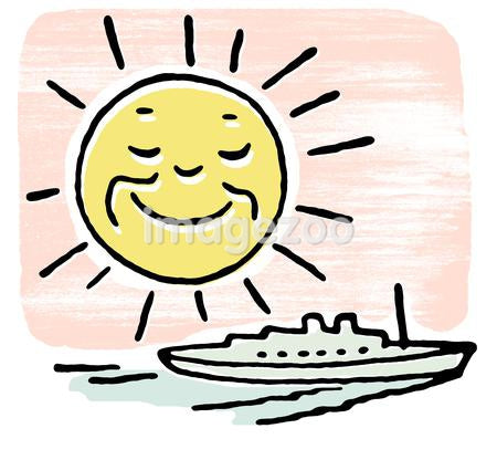 A cartoon image of a smiling sun over a ship