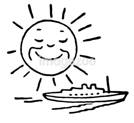 A black and white version of a cartoon image of a smiling sun over a ship