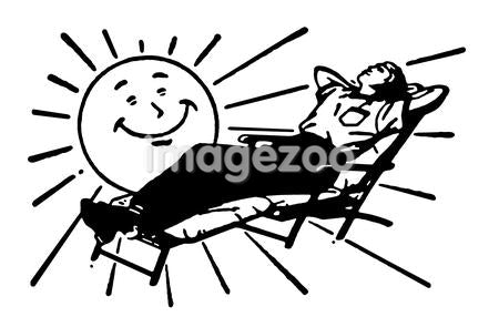 A black and white version of a cartoon sun shining over a person basking in the sun
