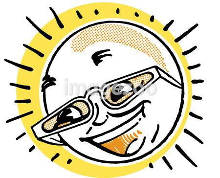 A cartoon image of a sun in glasses