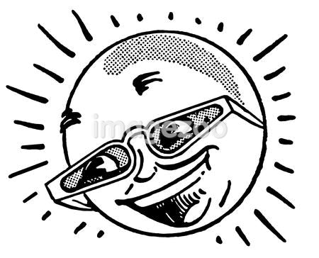 A black and white version of a cartoon image of a sun in glasses