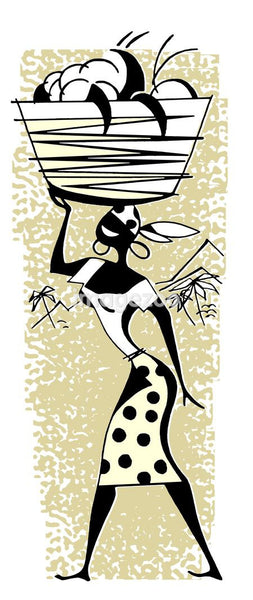A vintage illustration of a woman carrying positions in a basket on her head