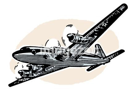 A vintage illustration of a plane