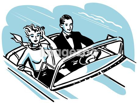 A vintage illustration of a couple in a speed boat