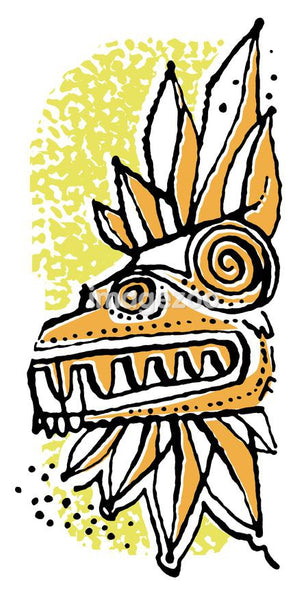 A colorful illustration of a wooden mask