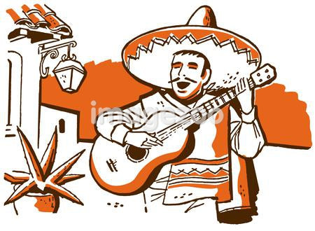 An illustration of a Mexican musician