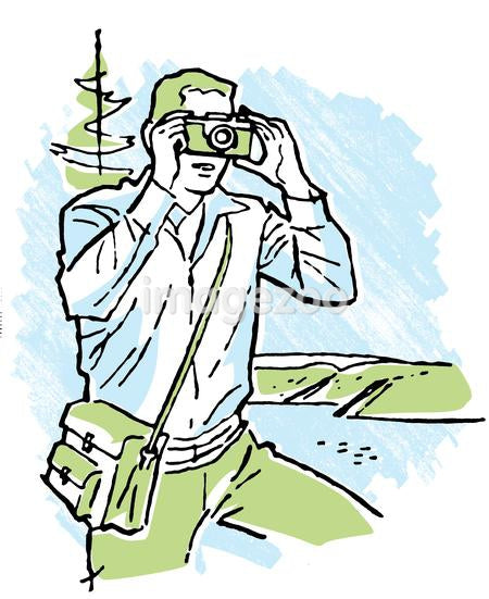 A vintage illustration of a man taking a photograph