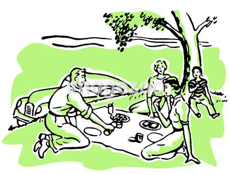 A vintage illustration of a group enjoying a summer picnic