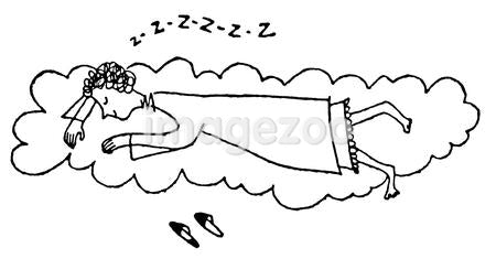 A black and white version of a cartoon style illustration of a woman sleeping