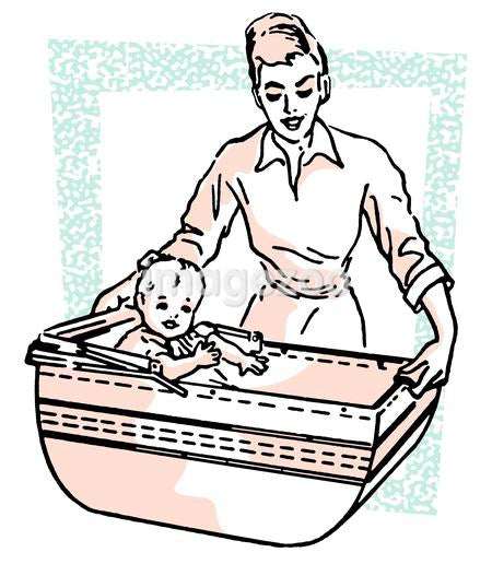 A vintage style illustration of a woman and baby