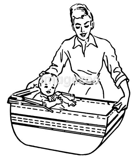 A black and white version of a vintage style illustration of a woman and baby