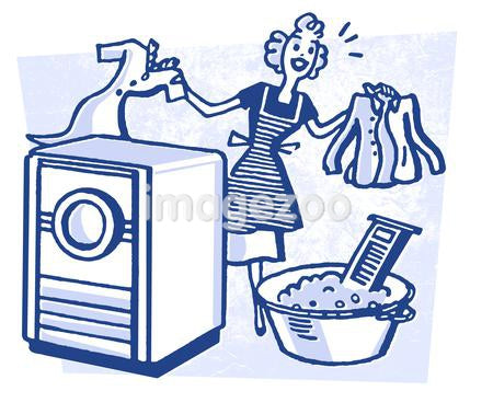 A cartoon style vintage illustration of a woman doing laundry