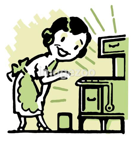 A cartoon vintage style portrait of a woman baking