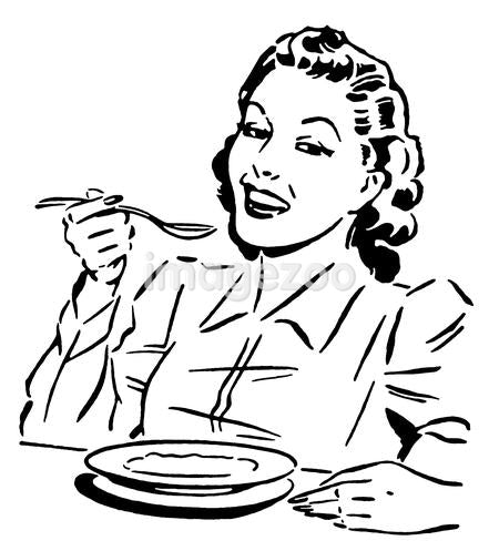 A black and white version of a vintage style portrait of a woman eating