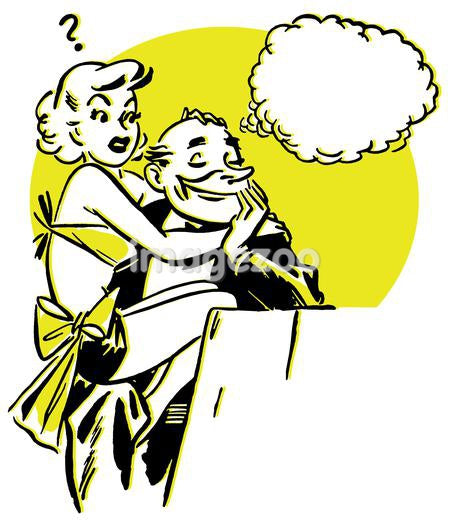 A vintage style graphic portrait of a woman clutching a man