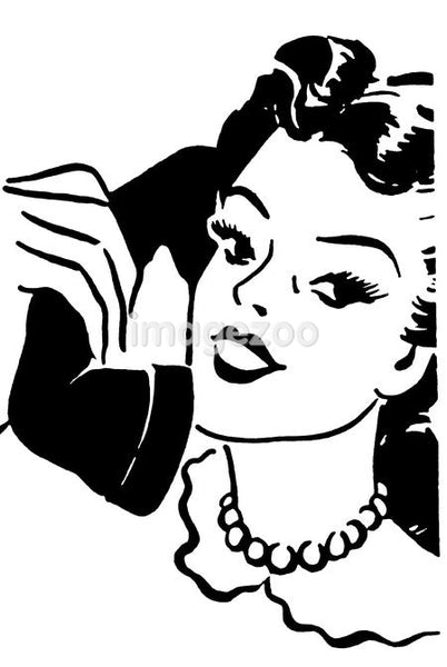 A black and white version of a vintage style portrait of a woman talking on a telephone