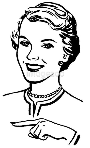 A black and white version of a vintage style portrait of a woman