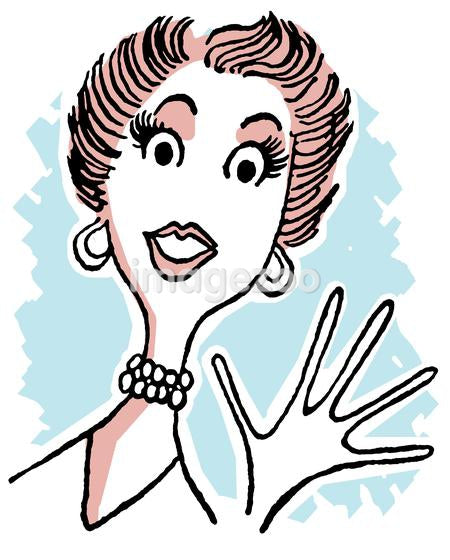A vintage cartoon style image of a surprised lady