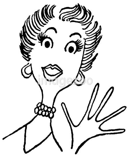 A black and white version of a vintage cartoon style image of a surprised lady