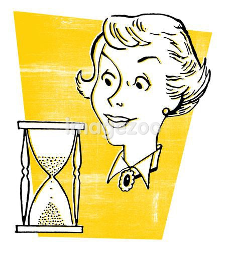A vintage style illustration of a woman and an hour glass