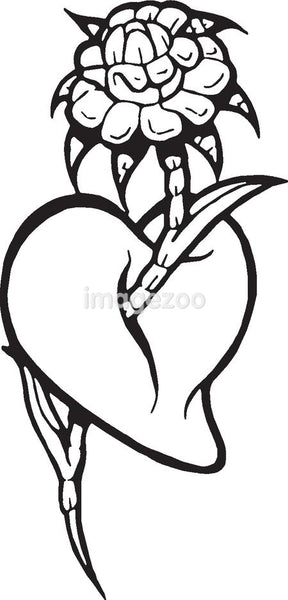 A black and white version of a stencil of a heart with a flower coming through it