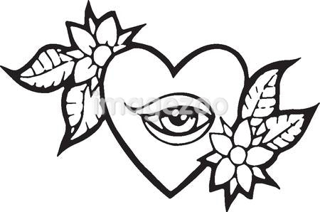 A black and white version of a stencil of a heart with and eye and flowers