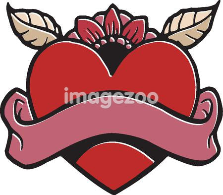 A stencil of a heart with a text banner in the foreground and flowers in the background