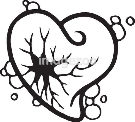 A black and white version of a stencil of a shattered heart