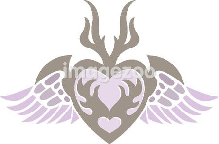 A stencil of a heart with wings