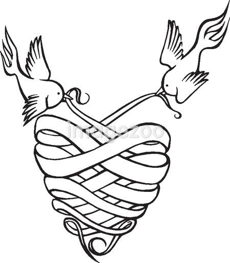 A black and white version of two birds holding cloth in the shape of a heart