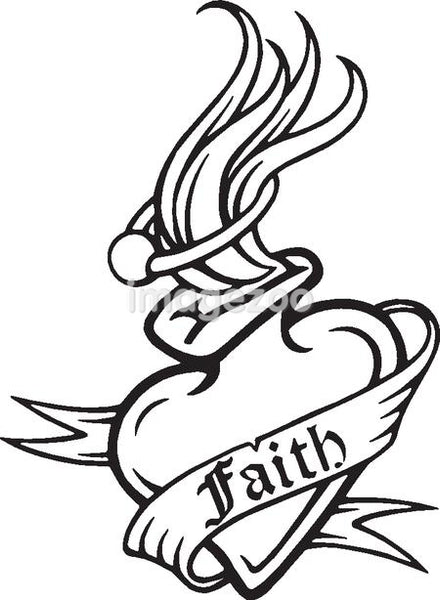 A black and white version of a stencil of a heart with a text banner draped around it reading 'faith'