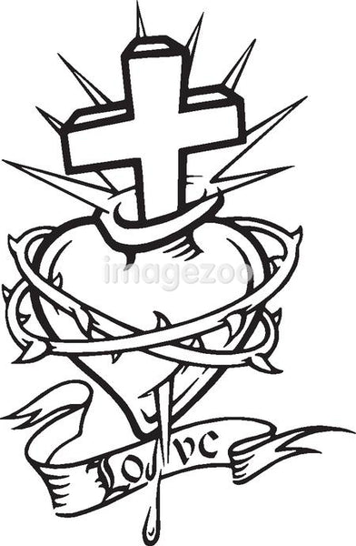 A black and white version of a stencil of a bleeding heart with thorns, a cross and a banner