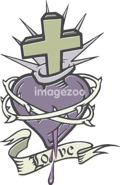 A stencil of a bleeding heart with thorns, a cross and a banner
