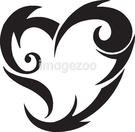 A black and white version of a tribal stencil of a heart