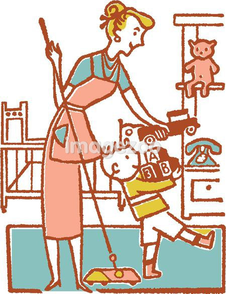 Woman and boy tidying room