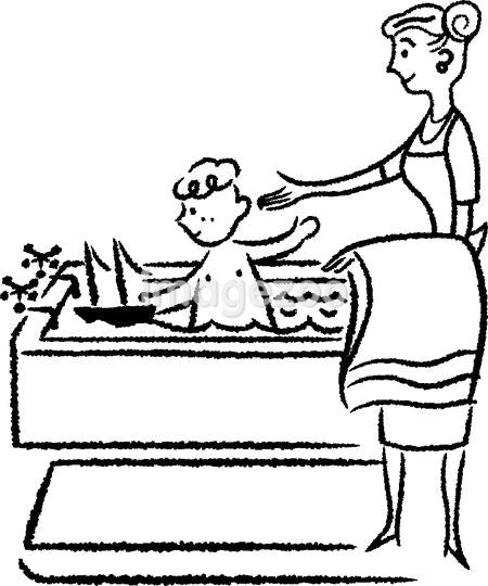 A black and white version of a mother bathing a small child