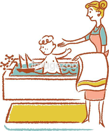 Mother bathing boy in bathtub