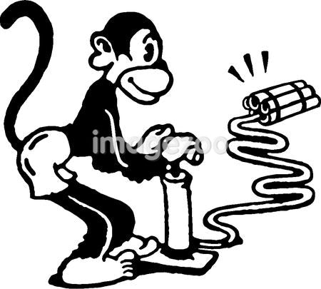 A black and white version of a monkey igniting dynamite