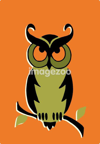 Illustration of an owl on a branch