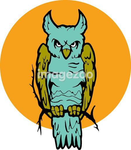An owl against a yellow circled background