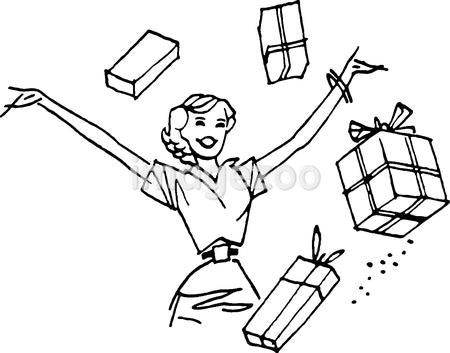 A woman with her arms up surrounded by presents