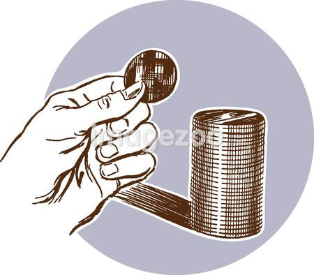 A hand holding a coin with a stack of coins behind