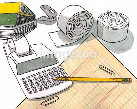 Still life of an accountants tools