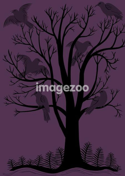 A purple and black image of crows in a tree